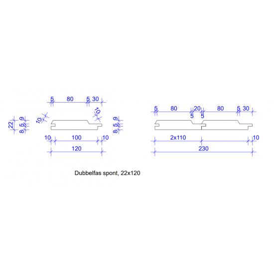 22x120 DUBBELFAS SPONT 4019 GRUNDM L=
