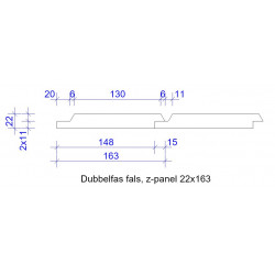 22x163 DUBBELFAS FALS GRUNDM L=4,5